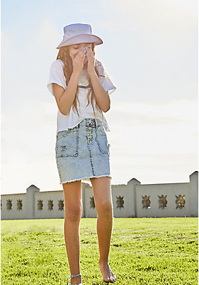 Destructed High Waist Denim Skirt