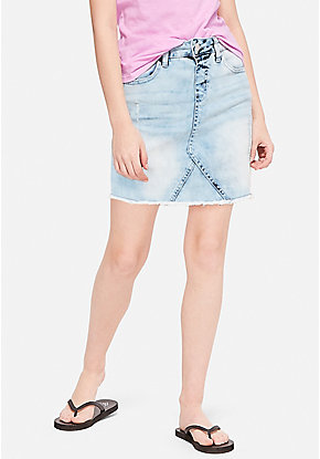 Destructed Acid Wash Denim Skirt