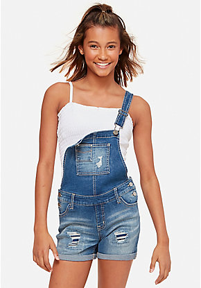 Tween Girls  Denim   Knit Shorts - Denim Overalls  91a04c2011ad2