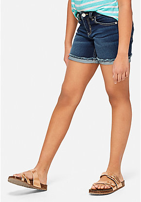 Frayed Roll Cuff Denim Midi Shorts