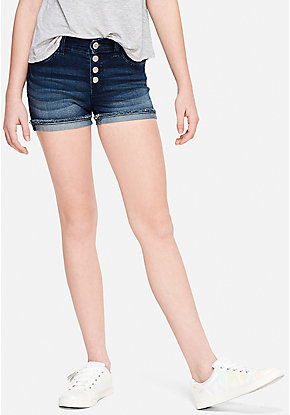 Button Up High Waist Denim Short Shorts