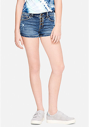 Destructed Button Up High Waist Denim Short Shorts