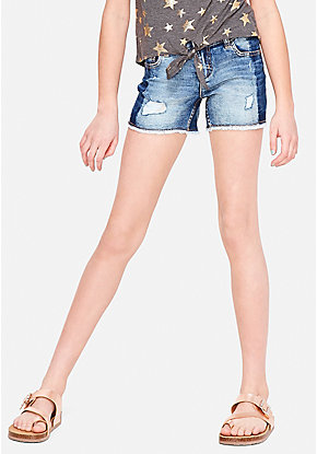 Two Tone Destructed Denim Midi Shorts