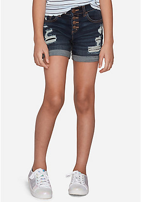 Destructed High Rise Midi Shorts