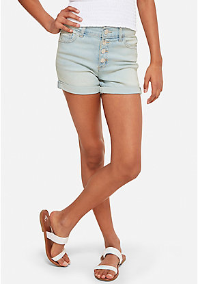 Snap Button High Waist Denim Short Shorts