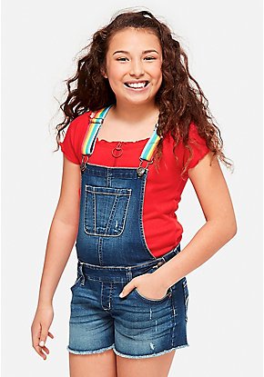 Rainbow Strap Denim Shortalls