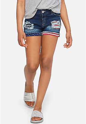 Americana Destructed Denim Short Shorts