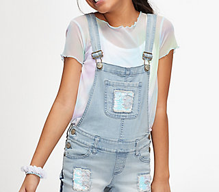 Flip Sequin Destructed Shortalls