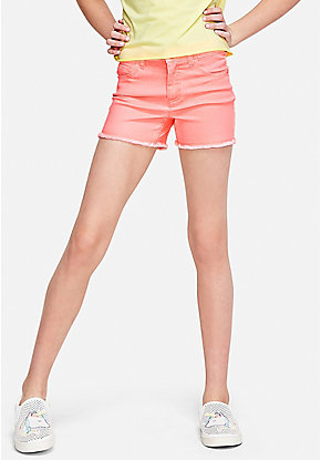 Color High Waist Denim Midi Shorts