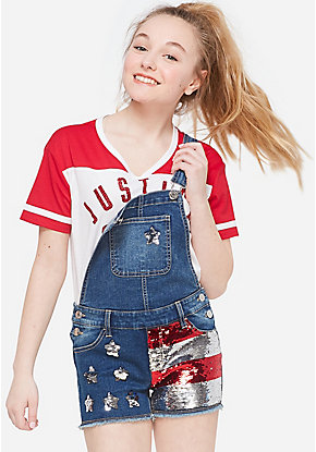 American Flag Flip Sequin Shortalls