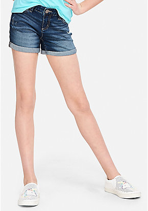 Destructed Relaxed Fit Denim Midi Shorts