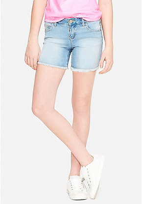 Fray Hem Denim Midi Shorts