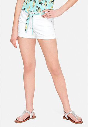 Woven Belt Denim Short Shorts