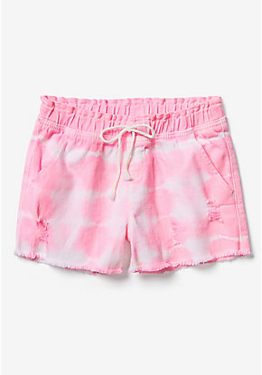 Tie Dye Destructed Midi Shorts