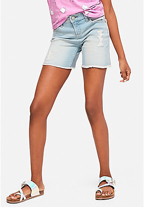 Destructed Fray Hem Denim Midi Shorts
