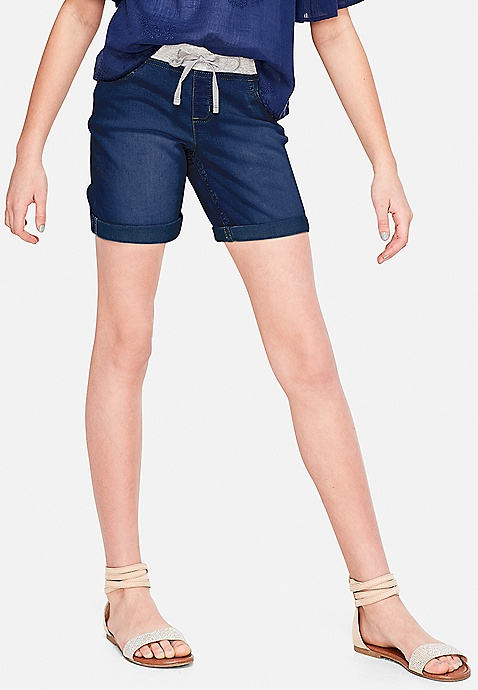 Justice Shorts Mid Thigh Roll Cuff Denim Light Wash