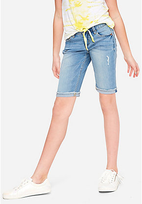 Frayed Roll Hem Denim Bermuda Shorts