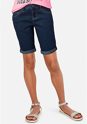 Roll Cuff Denim Bermuda Shorts