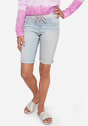 Knit Waist Denim Bermuda Shorts
