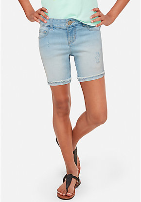 Destructed Denim Mid Thigh Shorts