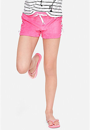 Lace Up French Terry Dolphin Shorts