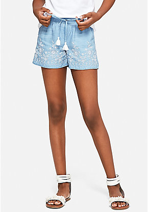 Chambray Embroidered Soft Shorts