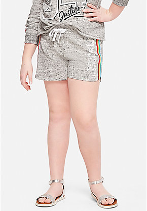 Rainbow Stripe French Terry Dolphin Shorts