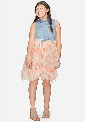 Floral & Denim Sleeveless Tutu 2fer Dress