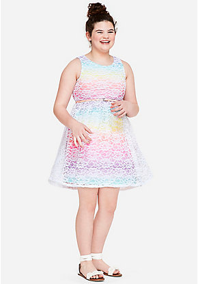 Rainbow Lace A-Line Dress