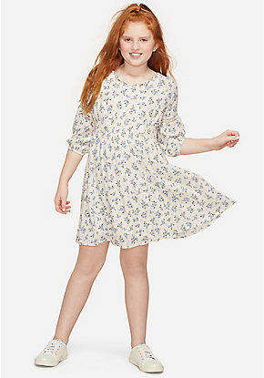 Floral Tie Neck Peasant Girls Dress
