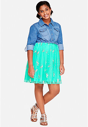 Unicorn Denim Tutu 2fer Dress
