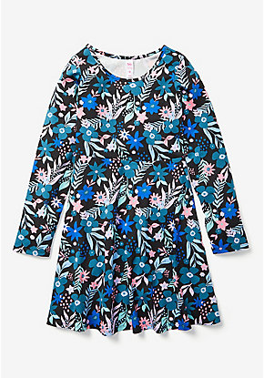 Graphic Long Sleeve A-Line Dress
