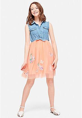 9dcd65fb81f Embellished Chambray Tutu 2fer Dress