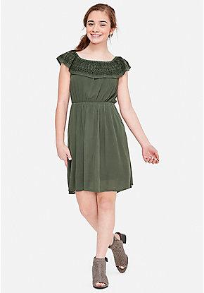 Embroidered Flounce A-Line Dress 1f9a20ad77a6