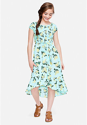 2322b7199a5 Smocked High Low Midi Dress