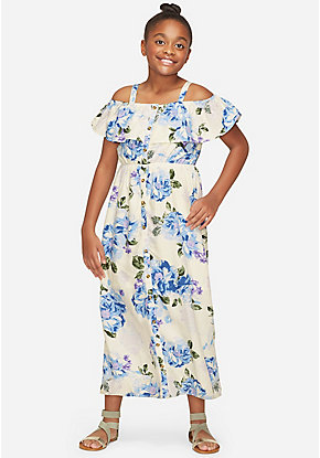 Off Shoulder Flounce Maxi Dress
