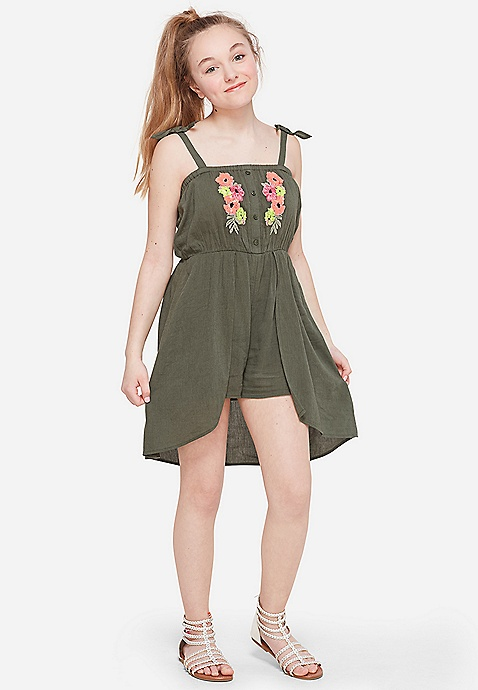 c83dbf95f1 Embroidered Skirted Romper