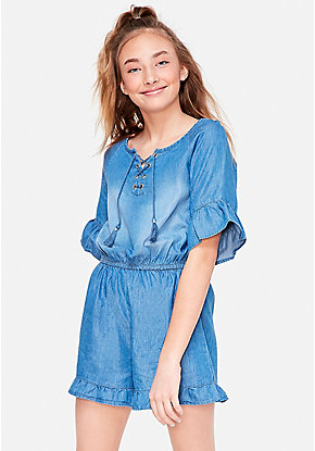 a5bfd196857 Chambray Lace Up Romper