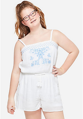 Embroidered Convertible Girls Romper