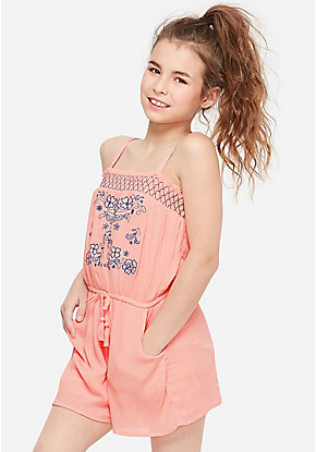 Embroidered Convertible Romper