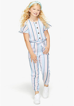 Button Front Flutter Sleeve Jumpsuit