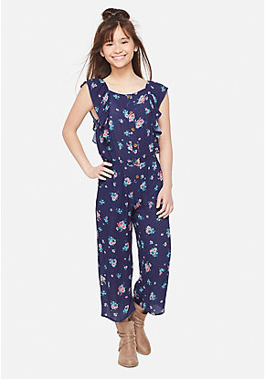 Floral Ruffle Girls Jumpsuit