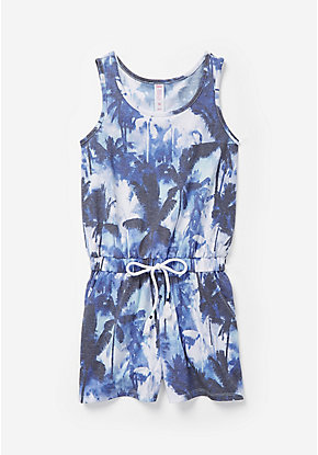Palm Tree Sleeveless Romper