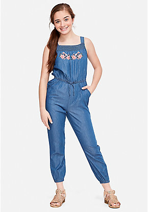c321a43df74 Embroidered Chambray Jumpsuit