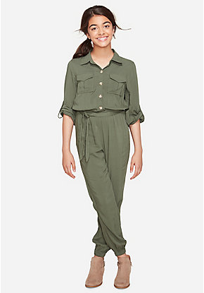 Olive Button Up Jumpsuit