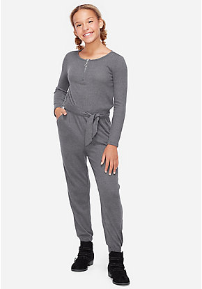 Snuggly Soft Tie Waist Jumpsuit
