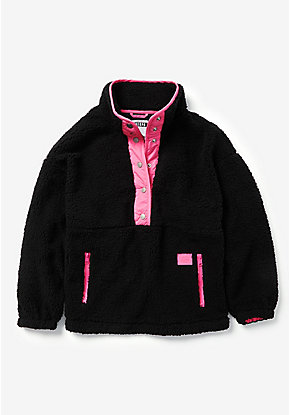 Sherpa Snap Up Sweatshirt