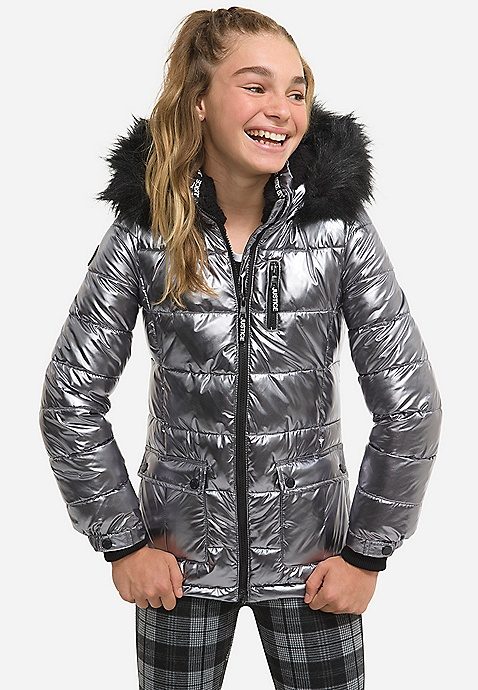 Metallic Girls Puffer Coat Foil Beanie by Justice