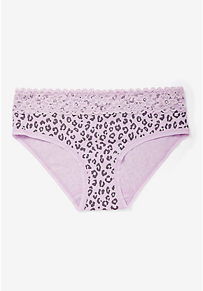 Lace Waist Leopard Cotton Hipster