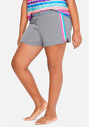 Rainbow Side Stripe Pajama Shorts